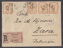 MONTENEGRO. 1900 (11 June). Cettigne - Zara / Dalmatia (15 June). Reg Multifkd Env 5n X4 Incl Stamp Of Three Orange Brow - Montenegro
