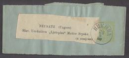 MONTENEGRO. C.1895 (28 April). Nikshitie - Hungary, Neusatz. 2n Yellow Bluish Stat Wrapper. VF Used Cds V Scarce Dest. - Montenegro