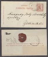 MONTENEGRO. 1902 (9 April). Kolachina - Cettigne. 5n Red Stat Lettersheet. Via Podgoritza Cds Transit. Proper Text V Sca - Montenegro