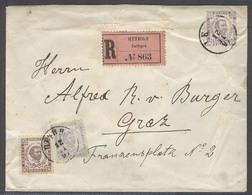 MONTENEGRO. 1897 (12 Nov). Cettigne - Austria, Gratz (18 Nov). Reg 7n Lilac Stat Env 2 Adtls 38n Rate R-label With Arriv - Montenegro