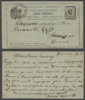 MONTENEGRO. 1890 (14 DeC). Netzec / Niksic (?) - Bosnia, Sarajevo, Bosanske Vile (30 Dec). 3n Black Stat Card Proper Fam - Montenegro