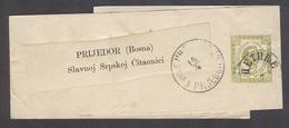 MONTENEGRO. C.1895. Cettigne - Bosnia, Prijedor. 3n Green Stat Wrapper Cds Arrival Cachet. Fine And Scarce. - Montenegro