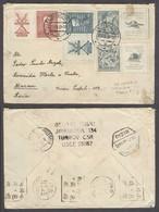 China - XX. 1938 (21 Aug). Mainland China Transit. Turnov 1 / Czech - Macau, Asia (14 Sept). Mulitfkd Env Via Tientsin - - China
