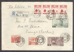 JAPAN. 1937 (8 Jan). Tokyo, Nippon - Sweden, Skara. Reg Multifkd Via Siberia Env. Scarce Overseas Usages On Cover Air St - Japon