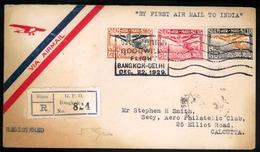 SIAM. 1929 (22 Dec). SIAM-India. First Flight. Bangkok-Deli (15 Jan). Registered, Signed On Reverse Franked Envelope. - Siam