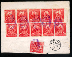 """PERU. 1900(20Aug). Calderillos(?) To London/UK. Envelope Franked On Reverse  By Eleven X2c.red, Oval Violet """"Directoria - Peru"""