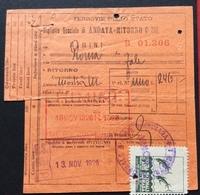 BIGLIETTO SPECIALE  FERROVIE DELLO STATO  PER LA MOSTRA NAZIONALE ARTE MARINARA ROMA 1926  Con Erinnofilo E Timbro Speci - Erinnofilia