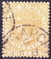 MALAYA STRAITS SETTLEMENTS 1867 QV 8c Orange SG14 Used - Straits Settlements