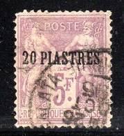 LEVANT - N°8 Obl (1886-1901) 20pi Sur 5fr - Dents Courtes ! - Gebraucht