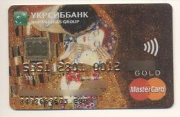 Credit Card Art Gustav Klimt The Kiss Bankcard Ukrsibbank UKRAINE MasterCard GOLD Expired - Carte Di Credito (scadenza Min. 10 Anni)