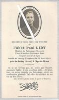 Auxerre - Cosne Longuyon : Image Mortuaire De L'abbé LIDY Paul (guerre 14/18) - Soldat Sergent Au 89ème De Ligne - Décès