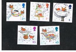 GRAN BRETAGNA.GREAT BRITAIN -  SG 2238.2242  -  2001 CHRISTMAS: ROBINS (COMPLET SET OF 5) - USED - 1952-.... (Elisabetta II)