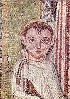 Salonicco - Santino Cartolina Mosaico IL SANTO E LE DUE FANCIULLE (part.) Chiesa Di San Demetrio, Sec. VII - PERFETTO R4 - Religione & Esoterismo