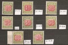 AUSTRALIA 1946 - 1957 POSTAGE DUE SET (ex 7d, 8d) SGD119/D128 (ex SG D126/D127) LIGHTLY MOUNTED MINT/UNMOUNTED MINT - Postage Due