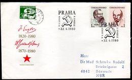 CZECHOSLOVAKIA 1980 Engels And Lenin FDC.  Michel 2565-66 - FDC