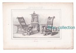 Meubles, France, Commencement Du XVIIe Siècle, Sièges, Chaise, Fauteuil, Gravure D'Augustin François Lemaître - Estampes & Gravures