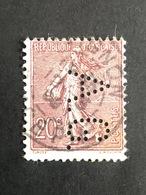 FRANCE A N° 131 Semeuse Lignée A.G. 96 Indice 6 Perforé Perforés Perfins Perfin 1924/32 - Perfins