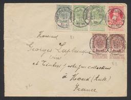 """Affranch. Mixte (FB / GB) Sur Lettre Obl Simple Cercle """"Welkenraedt"""" (1912) Vers Moux (Aude, France). - 1893-1900 Fine Barbe"""
