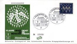 """BRD Schmuck-FDC: """"50 Jahre Volkbund Deutsche Kriegsgräberfürsorge"""", Mi.586 ESSt 4.6.1969 HAMBURG 36 - BRD"""