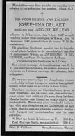 Doodsprentje Delaet Josephina Wed Willems August °1867 Bekkevoort +1943 Wever Glabbeek OLV Heinskensberg - Todesanzeige