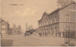 Enghien - La Gare (animée, Tram Tramway, Vélo, Edition Belge 1927) - Enghien - Edingen