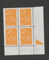 FRANCE 2004   Lamouche  N° YT 3731**  Coin Daté 16.01.2006  - Bloc De 4  / MNH - Coins Datés