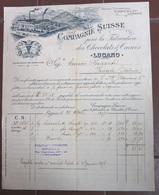 FATTURA COMPAGNIE SUISSE FABRICATION CHOCOLAT & CACAO LUGANO ANNO 1897 - Switzerland