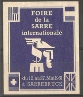 France - 1951 Publicity Label Sarre International Fair - Saar