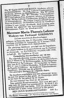 Doodsprentje Lefever Maria Wed Goedhuys Ferdinand °1864 Neervelp +1948 Attenrode Boerinnengilde H.Leonardus Peuty Boyen - Décès