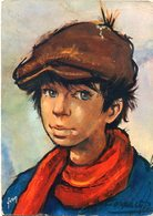 """LES GAMINS"" D' ANTONIO GONZALEZ. ART CARTE POSTALE CIRCULE 1988 FRANCAISE TO ARGENTINA POSTAL CPA - LILHU - Dibujos De Niños"