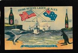 Australia Unites In Greeting America-Resch's Lager Advertising 1908 - Antique Postcard - Australia