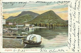 Lugano (Ticino, Svizzera) Quai E Monte Brè, Scorcio Lungolago Con Barche E Monte Brè - TI Tessin