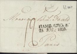 Lettre Avec Marque Postale HAMBOURG 4 25 Juil 1809 Taxe Manuscrite 12 Pour Paris Texte En Yiddish Judaïsme Judaica - Hamburg