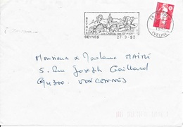 YVELINES 78  -  BEYNES  -  FLAMME :  BEYNES / SON CHATEAU DES XIIIe  ET XIVe  -  1993 - Marcophilie (Lettres)