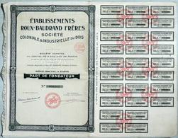 Action Bois Colonial & Industriel  Etablissement Roux-Baudrand #265 Part Fondateur (30 Coupons) - Industrie