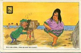 """""""NO ES CARO SEÑORA... TENGO QUE USAR TRES PLACAS"""" MUJER GORDA, FAT WOMAN. COMICA HUMOR POSTAL CPA CIRCULE 1971 - LILHU - Humor"""