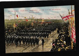 Melbourne,Australia-On The March From Port Melbourne To The City, Aug 31,1908 - Antique Postcard - Australia