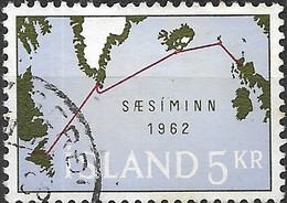 ICELAND 1962 Opening Of North Atlantic Submarine Telephone Communications - 5k Cable Map FU - 1944-... Republik