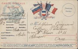 Guerre 14 FM CP Drapeau Gloire Alliés Angleterre Russie Belgique France 20e Corps D'armée Hôpital Temporaire 2 Clairvaux - Marcophilie (Lettres)