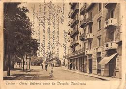 """0413""""TORINO - CORSO PALERMO VERSO LA BORGATA MONTEROSA"""" ANIMATA, CICLISTA CART. ORIG. SPE. 1938. - Italia"""