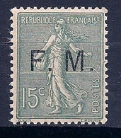 FRANCE  - FM 3  15C VERT OLIVE SEMEUSE LIGNEE NEUF** MNH LUXE COTE 210 EUR - Franchise Militaire (timbres)