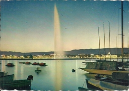 Geneve (Ginevra, Svizzera) Le Jet D'Eau Au Crepuscule, Waterjet At Twilight, Getto D'Acqua Al Tramonto - GE Ginevra