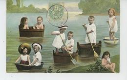 ENFANTS - BEBES - Jolie Carte Fantaisie Bébés Dans Bassines Sur L'eau - Bébés