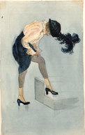 Carte Artisanale (non-postale) Peinte à La Main D'après KIRCHNER  - Femme Elégante - Chapeau   (113115) - Malerei & Gemälde