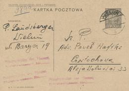 WIELUN - 1934 ,  Druckvermerk: IX-1933  -  Karta Pocztowa  Nach Cestochowa - Ganzsachen