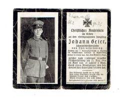Sterbebild Johann GEIER - Soldat In Einem Bay. Res.-Feld-Artillerie Regt. +22/8/1818 - Begraven THANVILLE Bl. 2 - Gr. 76 - 1914-18
