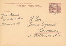 TOMASZOW MAZOWIECKI - 1937 ,  Druckvermerk:  XI-1936  -  Karta Pocztowa  Nach Warszawa - Ganzsachen