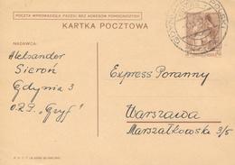 KGDYNIA  - 1939 ,  Druckvermerk:  X-1938  -  Karta Pocztowa  Nach Warszawa - Ganzsachen