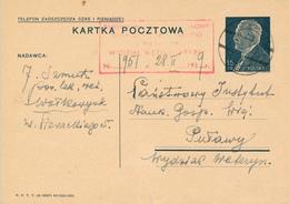 WOLKOWYSK / Waukawysk - Weissrussland  - 1939 ,  Druckvermerk:  X-1937  -  Karta Pocztowa  Nach Puwawy - Ganzsachen