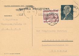 WARSZAWA  - 1938 ,  Druckvermerk:  X-1937  -  Karta Pocztowa  Nach Berlin - Ganzsachen